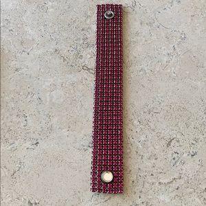 "SWAROVSKI dark pink, wide bandage bracelet, 8"""